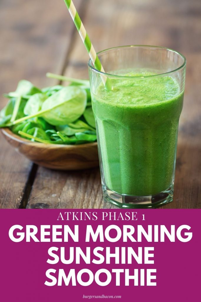 Atkins phase 1 breakfast smoothie, green morning sunshine is ideal for breakfast or mid-afternoon pick me up. Packed with 26 grams of protein, 4.4 net carbs